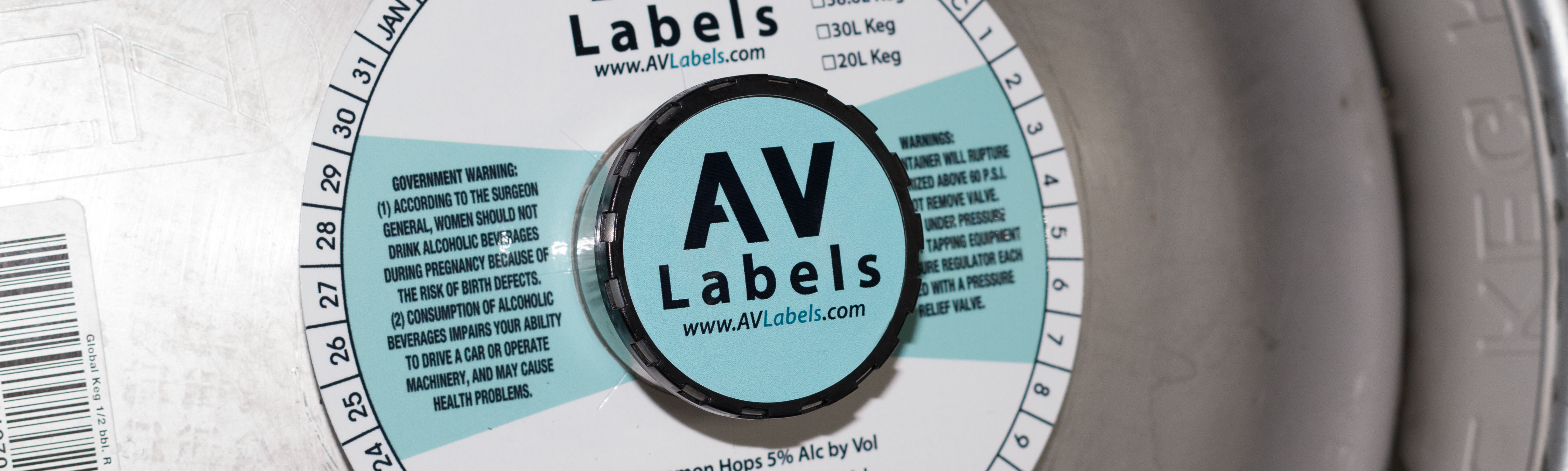 picture of a keg with keg collar, keg label and other branding