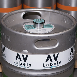 Image of keg with keg collar, keg label and keg wrap